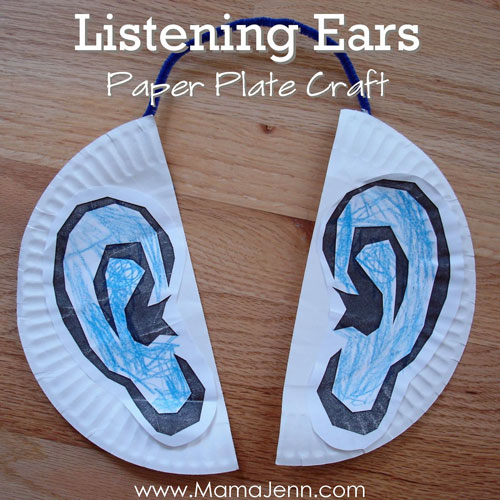 Paper Plate Listening Ears Craft