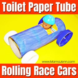 Toilet Paper Tube Rolling Race Car Craft Tutorial