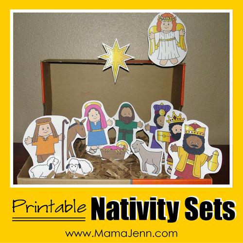 graphic about Free Printable Nativity Scene called Printable Nativity Sets Mama Jenn