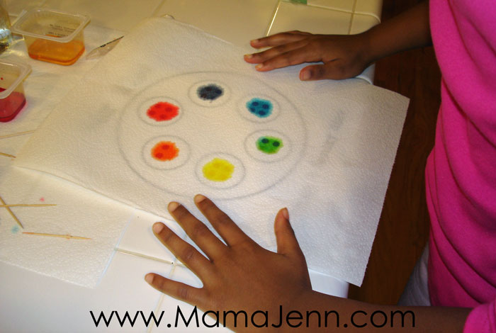secondary color wheel made from food coloring on a paper towel