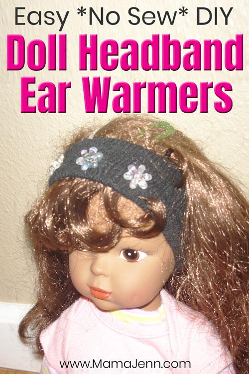 doll with handmade ear warmers with text overlay Easy *NEW SEW* DIY Doll Mittens Ear Warmers made from a glove