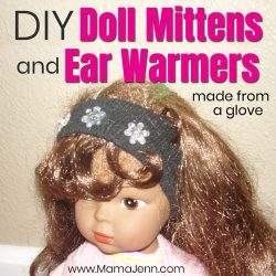 doll with ear warmers and text overlay DIY Doll Mittens & Ear Warmers made from a glove