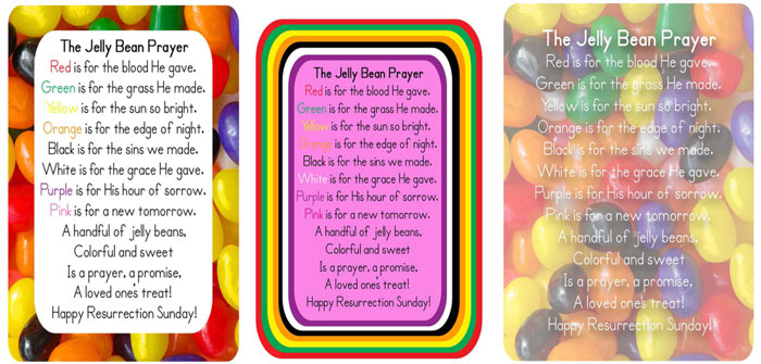 three cards with the Jelly Bean Prayer printed on them