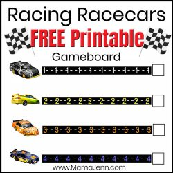Racing Racecars gameboard with text overlay: Racing Racecars FREE Printable Gameboard