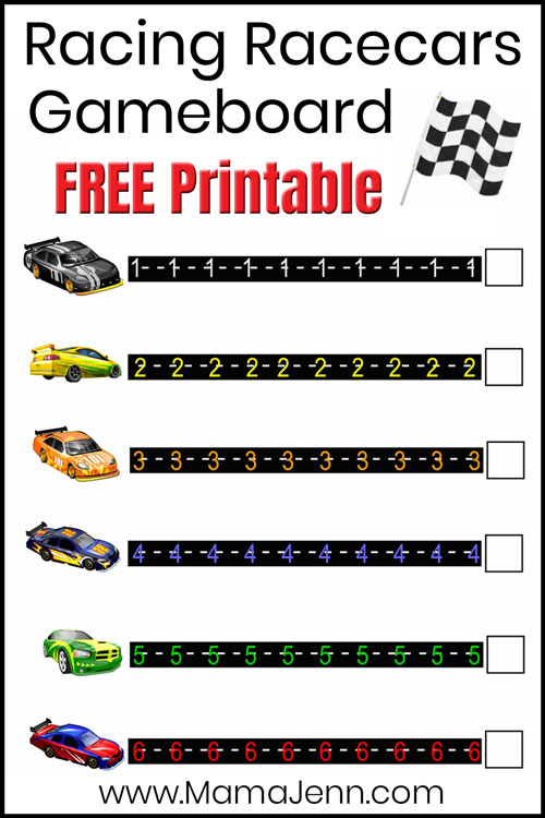 printble race car number game with text overlay: Racing Racecars Gameboard FREE Printable
