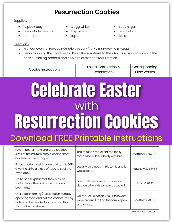 Resurrection Cookies Printable Instructions with text overlay Celebrate Easter
