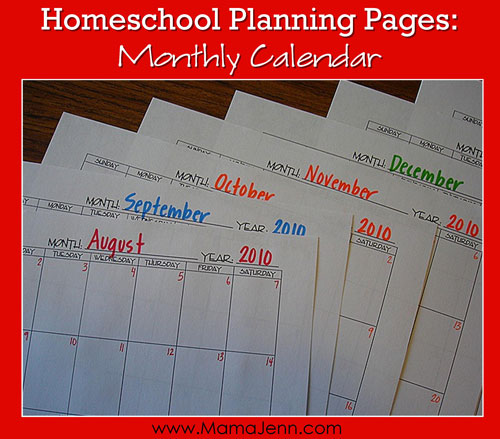 Homeschool Planning Pages Monthly Calendar