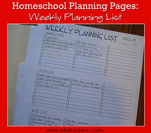 Homeschool Planning Pages Weekly Planning List