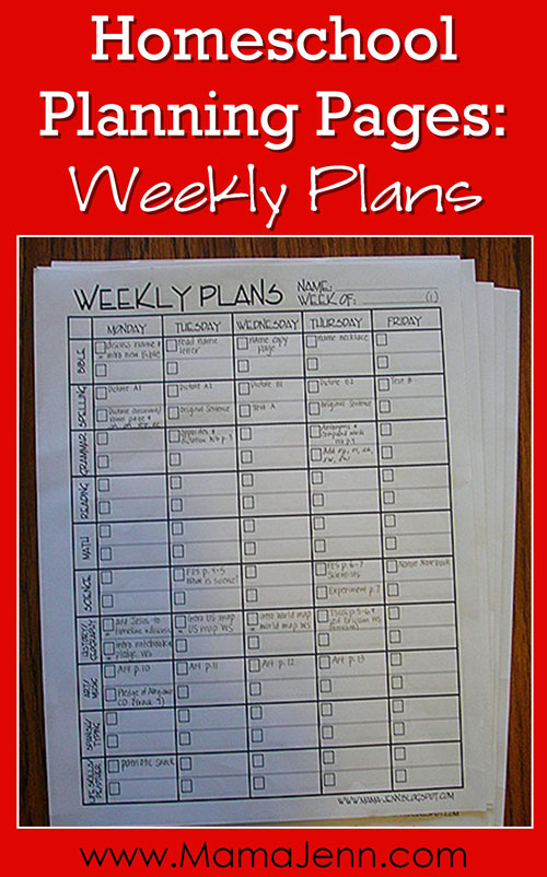 FREE Homeschool Planning Pages Weekly Plans