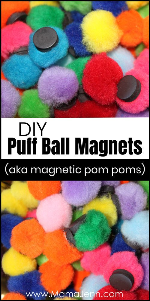 pom pom magnets with text overlay DIY Puff Ball Magnets