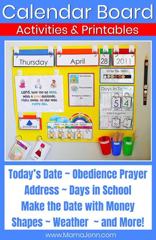 calendar board with text overlay Calendar Board Activities & Printables: Today's Date | Days in School | Make the Date with Money | and More