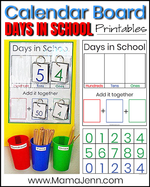 Day's in School printables with text overlay Calendar Board Days in School Printables