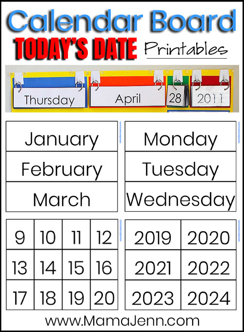 Today's Date printables to be used on a Calendar Board for classrooms or homeschool
