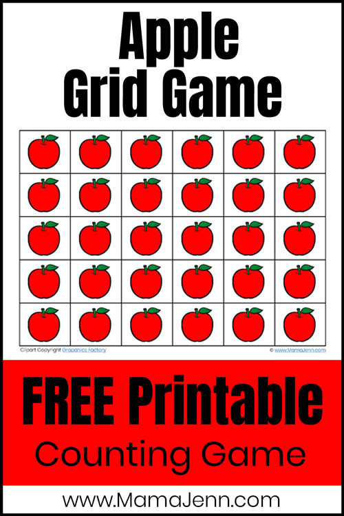 apple grid game with text overlay Free Printable Counting Game