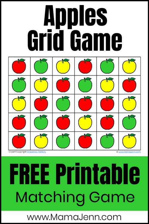 color matching apples grid game with red, yellow, and green apples and text overlay Free Printable Matching Game