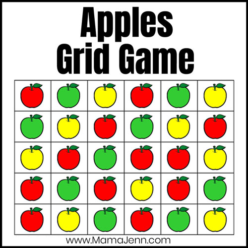 apples grid game with red, green, and yellow apples