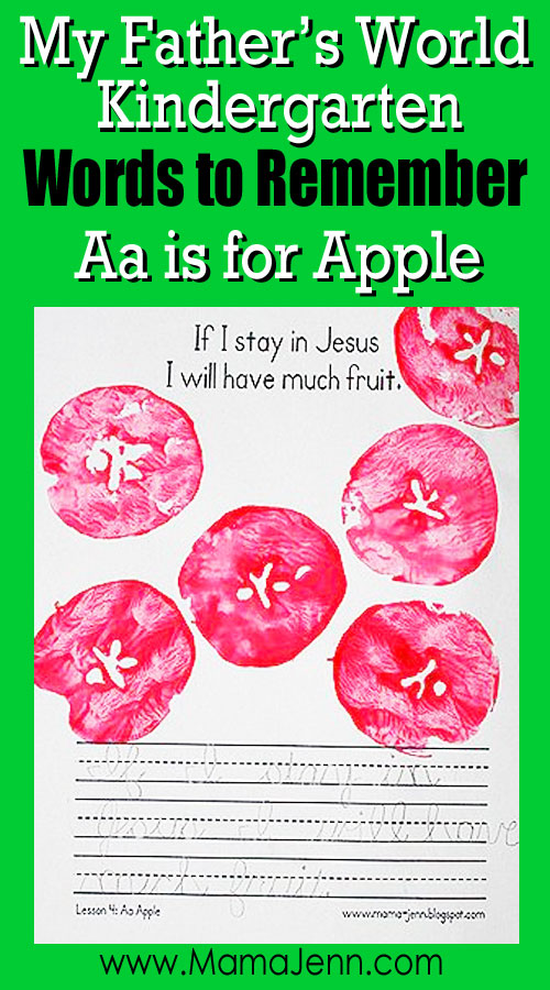 My Father's World Kindergarten Craft and Copywork Printables ~ Aa is for Apple