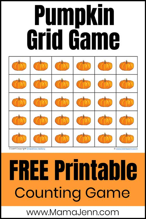 pumpkin math grid game with text overlay FREE Printable Counting Game