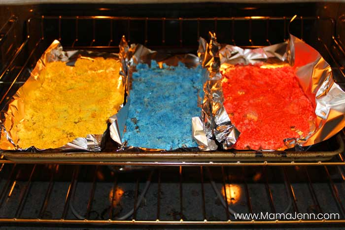 colored sand baking in oven