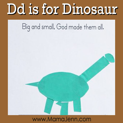 Dd for Dinosaur: MFW Kindergarten Printables
