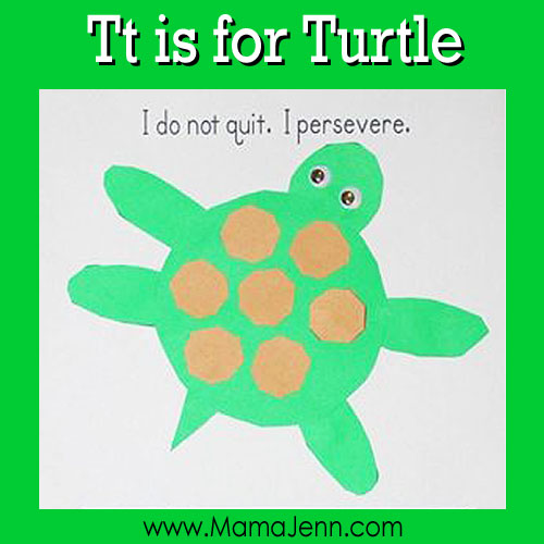 My Father's World Kindergarten Craft and Copywork Pages ~ Tt is for Turtle
