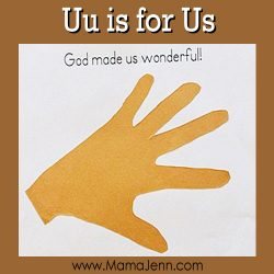 My Father's World Kindergarten Craft and Copywork Pages ~ Uu is for Us