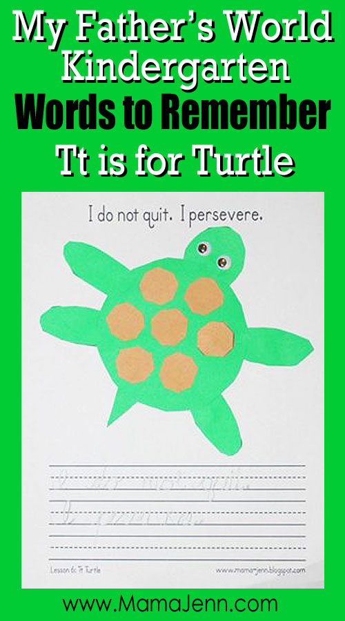 My Father's World Kindergarten Craft and Copywork Printables ~ Tt is for Turtle