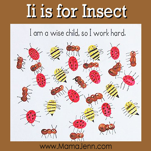 My Father's World Kindergarten Craft and Copywork Pages ~ Ii is for Insect