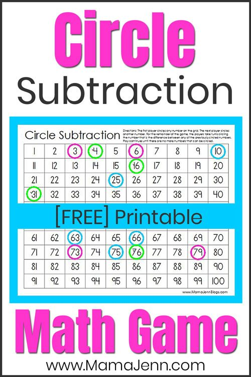 Circle Subtraction game board FREE printable math game