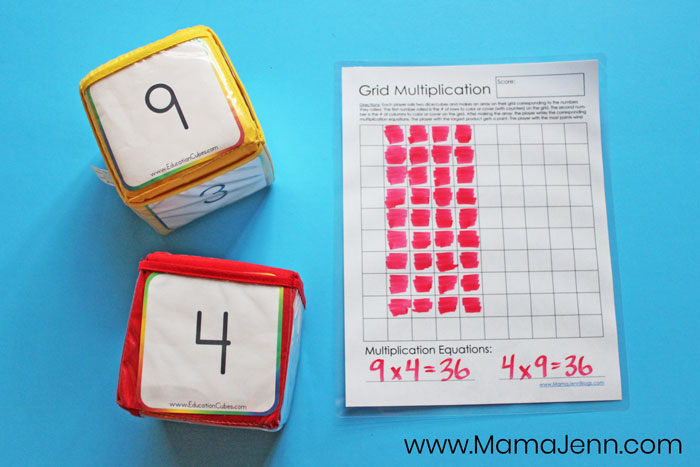 printable Grid Multiplication Game with Education Cubes