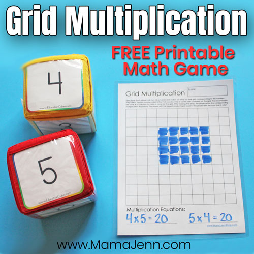 Grid Multiplication Game with Education Cubes with text overlay FREE Printable Math Game