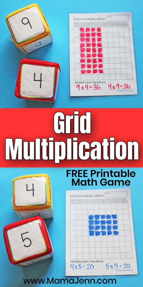 printable Grid Multiplication Game with Education Cubes and text overlay FREE Printable
