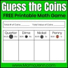 Guess the Coins Money Game: FREE Printable Math Activity