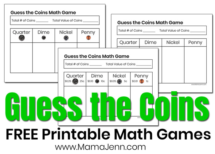 Guess the Coins FREE Printable Money Math Games