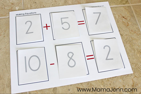 Making Equations addition subtraction math game board