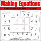 Making Equations game with text overlay FREE Printable Math Game
