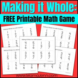 Making it Whole fractions game with text overlap FREE Printable Math Game