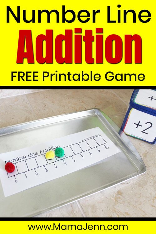 Number Line Addition math game with Education Cubes and text overlay FREE Printable Game