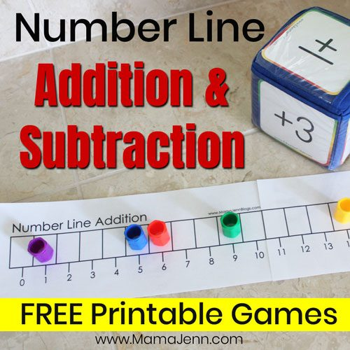addition game with Education Cubes and text overlay Number Line Addition & Subtraction FREE Printable Games
