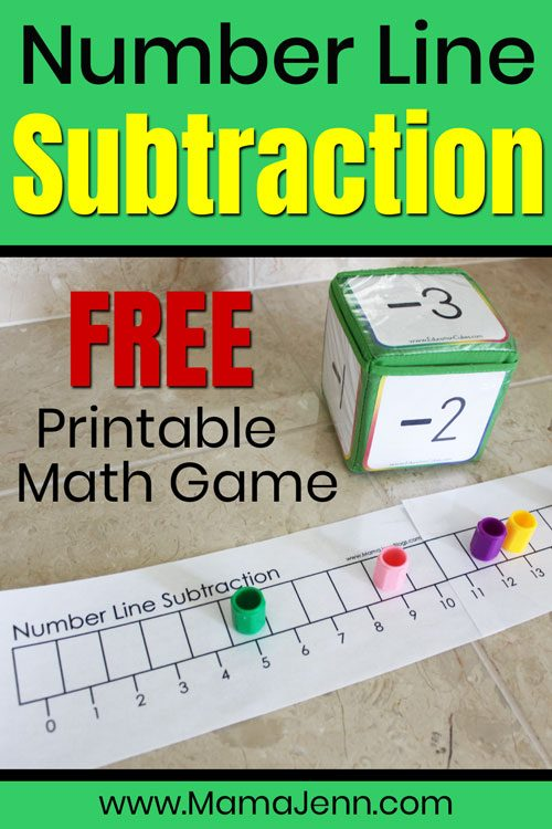 Number Line Subtraction game with Education Cubes and text overlay FREE Printable Math Game