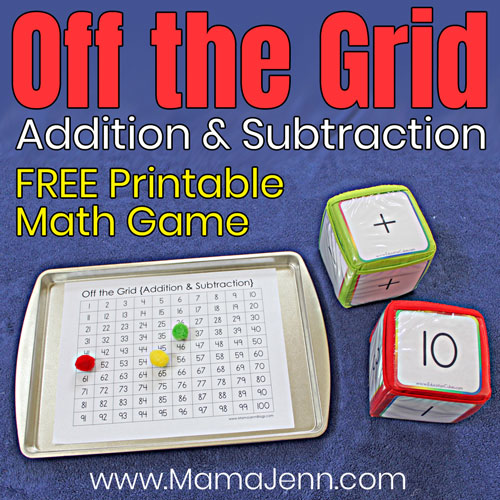 Off the Grid Addition Subtraction Math Game with Education Cubes and text overlay FREE Printable
