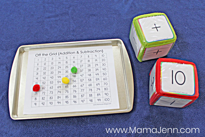 free printable Off the Grid Math Game with Education Cubes