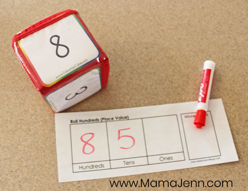 Roll Hundreds Place Value Math Game image 3