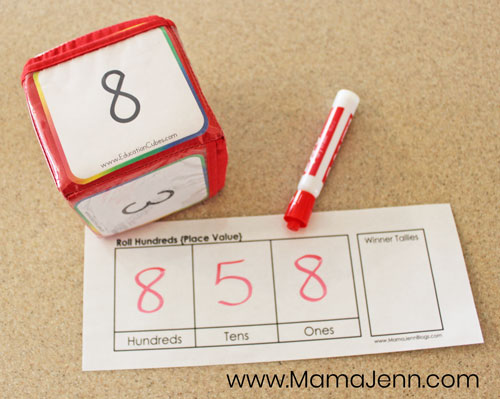 Roll Hundreds Place Value Math Game image 1