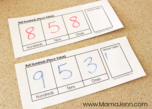 Roll Hundreds Place Value Math Game image 7