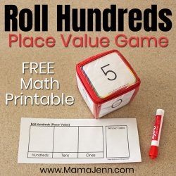 Roll Hundreds Place Value Game with Education Cubes