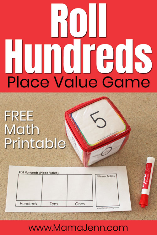 Roll Hundreds Place Value Math Game with Education Cubes