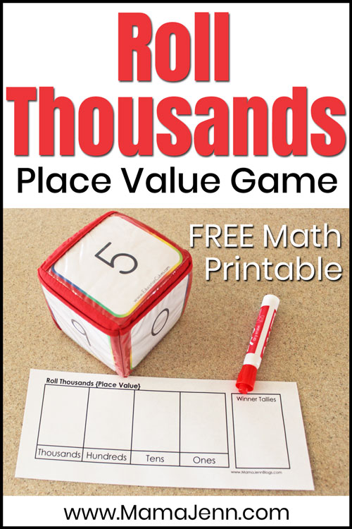 Roll Thousands Place Value Math Game with Education Cubes