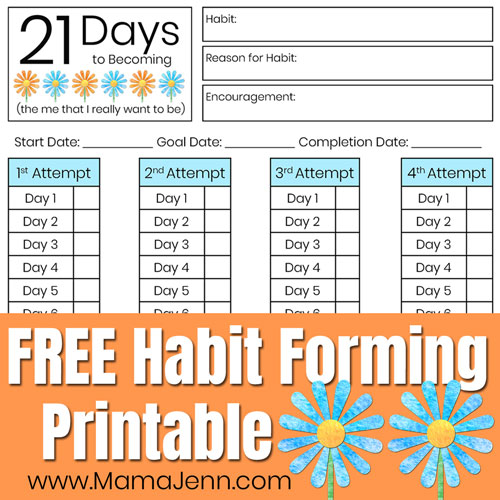21 Days printable with text overlay FREE Habit Forming Printable