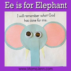 My Father's World Kindergarten Craft and Copywork Pages ~ Ee is for Elephant